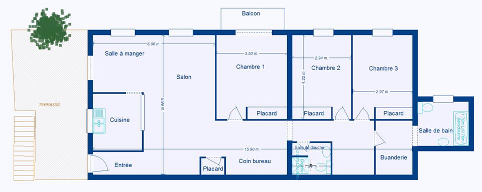 Location appartement 4 pi ces villa menton dans les for Plan appartement 3 chambres